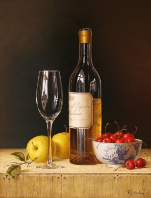 British Artist Roy HODRIEN - Chateau d'Yquem with apples and cherries